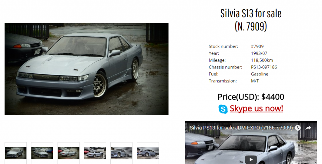 Nissan Silvia S13 for sale in Japan. Buy Nissan Silvia S13 from Japan at JDM EXPO